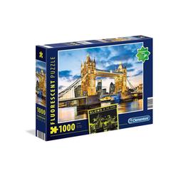 Clementoni® Puzzle Clementoni 97794 - Fluorescent-Puzzle - London - Tower Bridge, 1000 Teile, leutet im Dunkeln, 1000 Puzzleteile