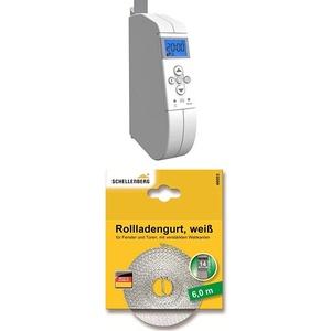 WIR elektronik, eWickler Comfort, eW920-m, elektrischer Gurtwickler, Display, für 15mm Gurtband + Schellenberg 46003 Rollladengurt 14 mm/6.0 m, weiß