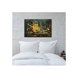 queence Leinwandbild Beleuchtete Stadt 120 cm x 80 cm x 2 cm