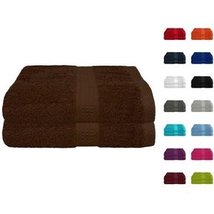 2er Pack Frottier Saunatuch, Saunatücher Set 80x200 cm 100% Baumwolle in 15 modernen Farben Schokobraun