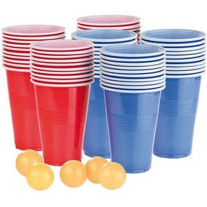 Trinkspiel-Set Bier Pong mit 60 Bechern (je 450 ml) und 5 Bällen