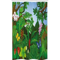 Abakuhaus Duschvorhang Badezimmer Deko Set aus Stoff mit Haken Breite 120 cm, Höhe 180 cm, Pflanze Lively Waldbäume