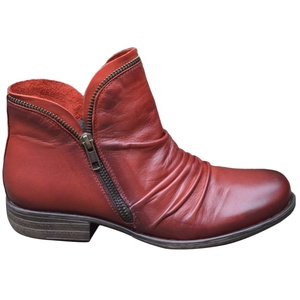 Onsoyours Damen Stiefel Mit Blockabsatz Biker Boots Herbst Winter Reißverschluss Worker Boots Winterstiefel Warm Casual Combat Boots Klassischer Stiefeletten Rot 37 EU