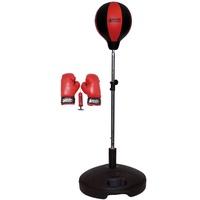 Best Sporting Unisex Jugend Box Set Boxset 4 teilig, Standfuß, Punchingball, Boxhandschuhe, Minipumpe, höhenverstellbar 100-130 cm, Handschuhgröße: 6 OZ, rot/schwarz, 23 cm