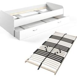 VitaliSpa Bett Enzo Jugendbett mit Gästeliege Funktionsbett 90x200 cm Weiß