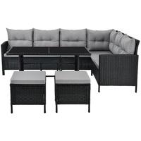 Juskys Manacor Lounge-Set schwarz/grau
