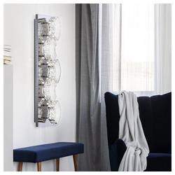 etc-shop Wandleuchte, Kristall Wandlampe LED Kristall Leuchte Wandlampen Modern Design, geschwungen aus Chrom, 1x LED 15 Watt 1020 Lumen neutralweiß, L 59 cm