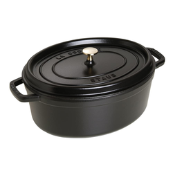 Staub Schmortopf Cocotte in schwarz oval, 33 cm