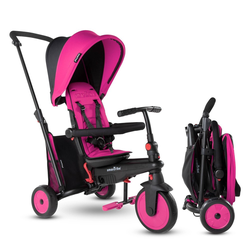 smarTrike STR3 Folding Toddler Tricycle with Stroller Certification 6-in-1 Multi-Stage Trike - Pink- 1-3 Years