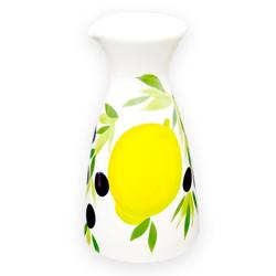 Lashuma Karaffe Zitrone Olive, Keramikkaraffe italienisch, Wasserkaraffe handbemalt 1200 ml - Ø 12.5 cm x 23.5 cm