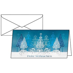 10 SIGEL Weihnachtskarten Blue Trees DIN lang