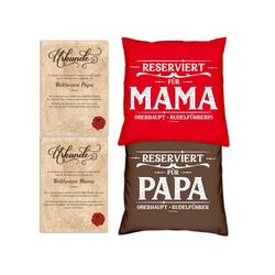 Soreso® Dekokissen Kissen-Set Reserviert für Papa Reserviert für Mama mit Urkunden, Weihnachtsgeschenk für Eltern rot