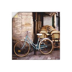 Artland Wandbild Fahrrad am Café, Fahrräder (1 Stück) 100 cm x 100 cm