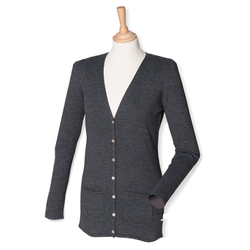 Damen V-Neck Cardigan | Henbury grey marl 4XL