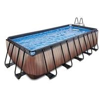 EXIT TOYS EXIT Wood Pool mit Sandfilterpumpe - braun 540x250x122cm