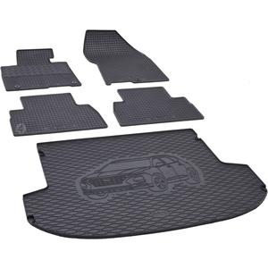 Kofferraumwanne und Gummifußmatten passgenau geeignet für Hyundai Santa Fe 5-Sitzer ab 2019 Farbe Schwarz + Gurtschoner