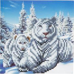 D.I.Y CCK-A8 - Crystal Card Kit, White Tigers, Craft Buddy, Kristall-Grußkarte, Bastelset