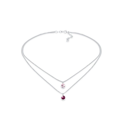 Elli Kette mit Anhänger Choker Layer Swarovski® Kristalle Rund 925 Silber, Kristall Kette rosa