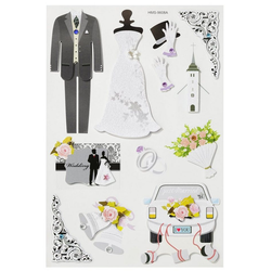 HobbyFun Sticker Hochzeit II, 3D, 12 Stück