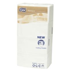 Tork Premium Bestecktaschen, weiß, Airlaid Qualität, 40 x 40 cm, innovativ gefaltet, 1 Karton = 6 x 200 Servietten = 1.200 Stück