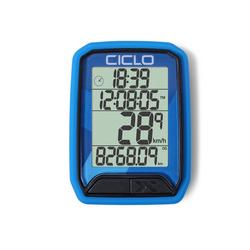 Ciclosport Fahrradcomputer Protos 113 Kabel Fahrradtacho 4 Zeilen Display blau