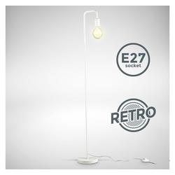B.K.Licht Stehlampe, Retro Stehlampe gebogen Höhe 140 cm E27 1-flammig Fußtaster Metall Matt-Weiß ohne Leuchtmittel