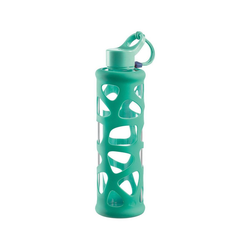 LEONARDO Trinkflasche Glas Trinkflasche mit Silikonmantel, 700 ml grün