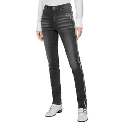 Jeans mit Metall- und Kristallsteinchen grau Damen Röhrenjeans Jeanshosen