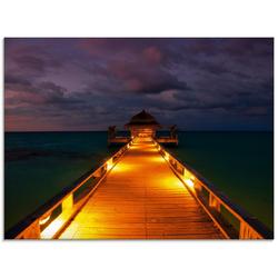 Artland Glasbild Malediven, Brücken (1 Stück) 60 cm x 45 cm x 1,1 cm