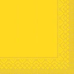 Mank Tissue Basics Servietten, 33 x 33  cm, 1/4 Falz, 3-lagig, 1 Karton = 6 x 100 Stück = 600 Servietten, gelb
