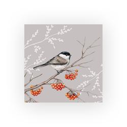 Ambiente Papierserviette Vogel auf rotem Beerenzweig, (5 St), 33 cm x 33 cm