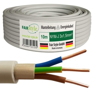 Fair Style 10m NYM-J 3x1,5 mm2 Mantelleitung Feuchtraumkabel Elektrokabel Kupfer Made in Germany