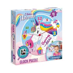 Clementoni® Puzzle Clock Puzzle 96 Teile - Einhorn, Puzzleteile