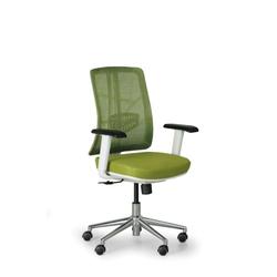 Bürostuhl human, weiß/grün, alukreuz