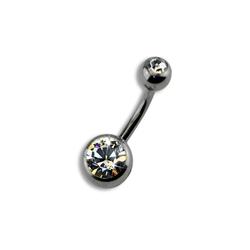 Zeeme Bauchnabelpiercing Titan silberfarben Kristall weiß, Piercing