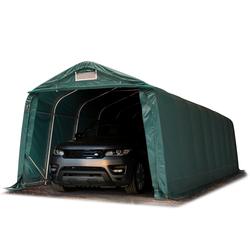 Toolport Zeltgarage 3,3x9,6m PVC 550 g/m² dunkelgrün wasserdicht Garagenzelt