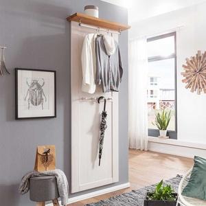 Garderobe in Weiß und Eichefarben 210 cm hoch