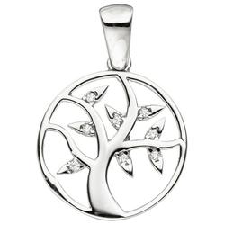 JOBO Kettenanhänger Lebensbaum, 925 Silber mit Zirkonia