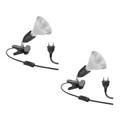 E27 Klemmlampe LIK, schwarz inkl. E27 PAR38 LED Reflektor-Lampe 1500lm warm-weiß, 2 Stk.