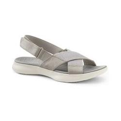 Leichte Komfort-Sandalen aus Canvas, Damen, Größe: 42.5 Normal, Beige, Baumwolle, by Lands' End, Travertin - 42.5 - Travertin