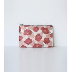 Hanji-Papiertasche Federmäppchen Kosmetiktasche - Rot/Kamelie - aus traditionellem Hanji-Papier