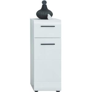 trendteam smart living Badezimmer Badkommode Kommode Schrank Skin, 30 x 80 x 31 cm in Weiß Hochglanz mit viel Stauraum