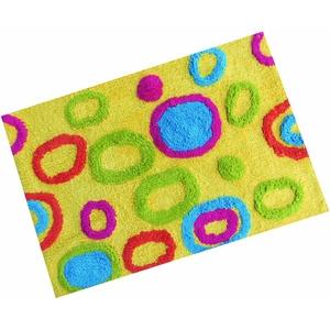 MSV Badmatte Bunte Kreisen 60x40cm aus Baumwolle in Gelb, Mehrfarbig, 60 x 40 x 15 cm