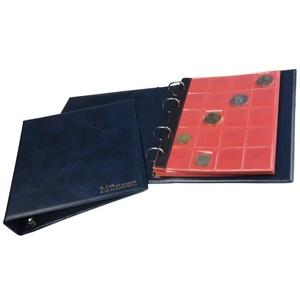 MC.Sammler Münzenalbum Münzalbum Album mit 10 Münzhüllen und roten Trennblättern für 221 Diverse Münzen Blau