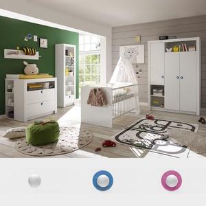 Babyzimmer Paula Komplettset Kinderzimmer 3 Tlg Weiß Griff Weiß Blau Oder  Rosa