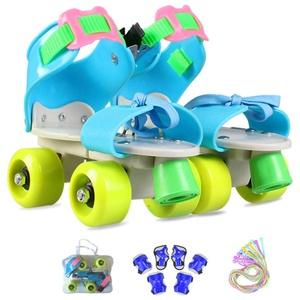 ZCRFY Rollschuhe Kinder verstellbar Für Mädchen Jungen Anfänger Outdoor Mit Schutzausrüstung Rollers Geburtstag Presen,Blue2-(25-36) Code