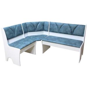 Truhen Eckbank in Weiß Blau modern