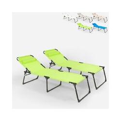 Lot de 2 chaises longues pliantes en aluminium de plage et de jardin de mer Mauritius | Vert foncé