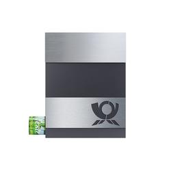 MOCAVI Briefkasten MOCAVI Box 510 Hochwertiger Design-Briefkasten edelstahl-anthrazit (RAL 7016) mit Edelstahl-Schild V4A Posthorn