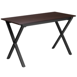 47.25''W X 23.75''D Computer Desk with Frame - Walnut Laminate Top/Black Frame - Riverstone Furniture Collection
